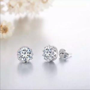 Sterling Silver 925 Crown CZ Stud Earrings